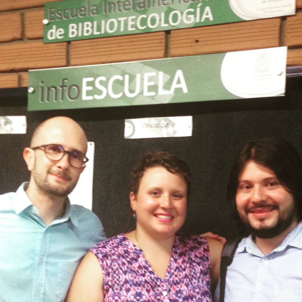 Santiago, Natalie and Jaider at the Escuela Interamericana de Bibliotecología in Medellín.